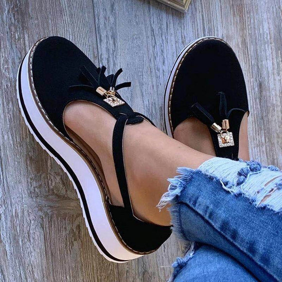 Women Flat Shoes Summer Vulcanized Shoes Solid Color Thick Bottom Women's Sandals Fashion Tassel Casual Style Women's Shoes Blue  MartLion
