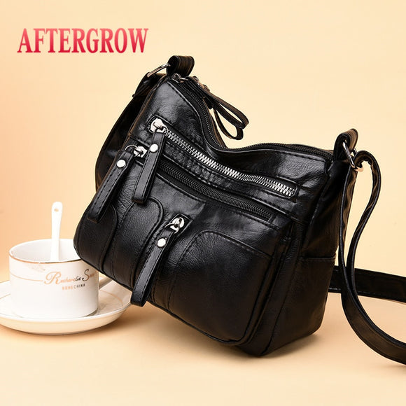 Women Messenger Bag Vintage Black Soft Washed Leather Handbag Daily Female Shoulder Bag Design Zipper Ladies Bags bolsa feminina - Mart Lion  Best shopping website
