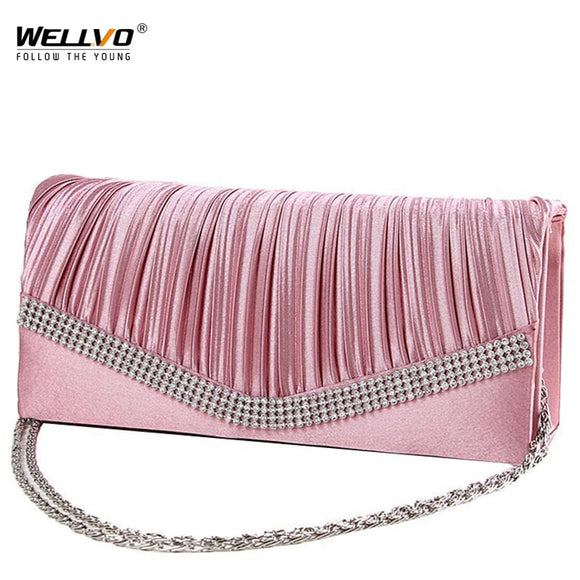 Women Satin Clutch Bag Rhinestone Evening Purse Ladies Day Clutch Chain Handbag Bridal Wedding Party Bag Bolsa Mujer 2020 XA1080