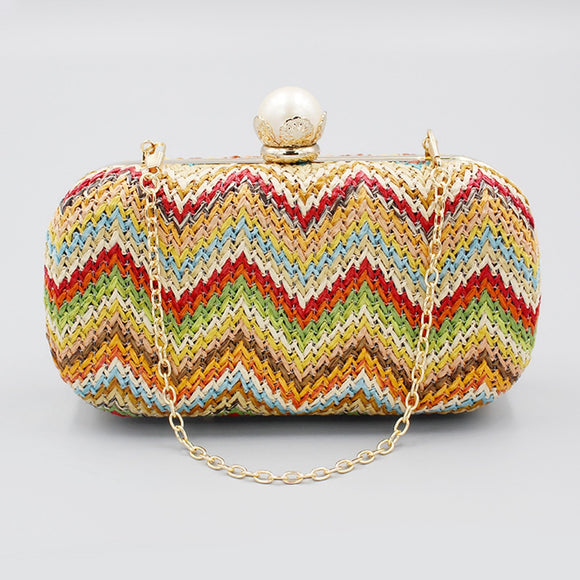 Women Straw Evening Bag Multi-color Woven Clutch Cross-body Pearl Lock Wallet Purse For Wedding Party Bridal 2020 New