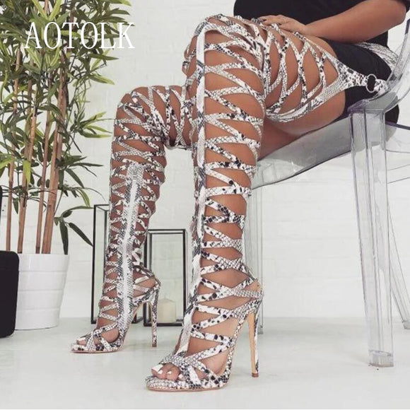 Women Thigh High Boots Brand Female Thin Heels  Sexy Snake Hollow Peep Toe Women Boots Spring Autumn Casual Shoes 2019 DE  MartLion