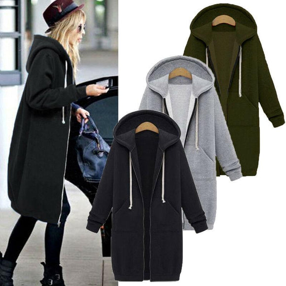 Women Zip Up Long Hoodies Solid Casual Plus Velvet Long Sleeve Hooded Jacket Female Winter Warm Pockets Plus Size Outwear Tops  MartLion