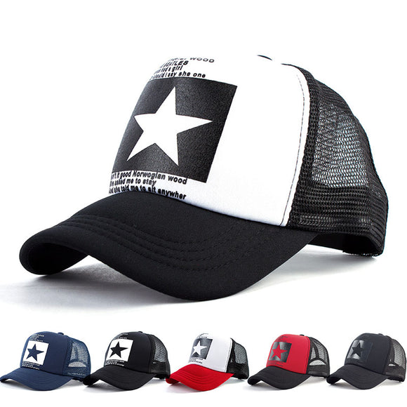 Women and Men Mesh Net Baseball cap Casual Star Printing Snapback Bone Baseball Hat for Male Casquette Letter Black Cap - Mart Lion  Best shopping website