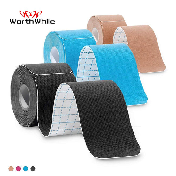 WorthWhile 5cm*5m Pre Cut Kinesiology Tape Athletic Recovery Elastic Tape Muscle Pain Relief Kneepads Fitness Sports Protector  MartLion