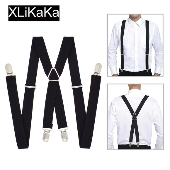 XLiKaKa 1 inch Suspenders Men Solid Color Polyester Elastic Adult Belt X-Shape Braces with 4 Clips for Women  MartLion