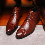 Yomior Fashion Spring Crocodile Leather Shoes Pointed Toe Business Dress Shoes Men Loafers Oxfords Formal Wedding Party Shoes  MartLion