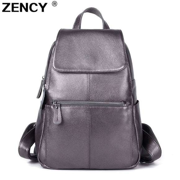 ZENCY 13 Colors Backpack 100% Real Genuine Cow Leather Cowhide Women's Female Top Layer Cow Leather School Book Backpacks Bags  MartLion
