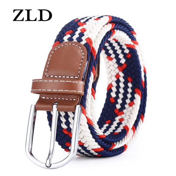 ZLD Hot Colors Men Women Casual Knitted pin buckle Belt Woven Canvas Elastic Stretch Belts Plain Webbing 2020 fashion 105-110cm  MartLion