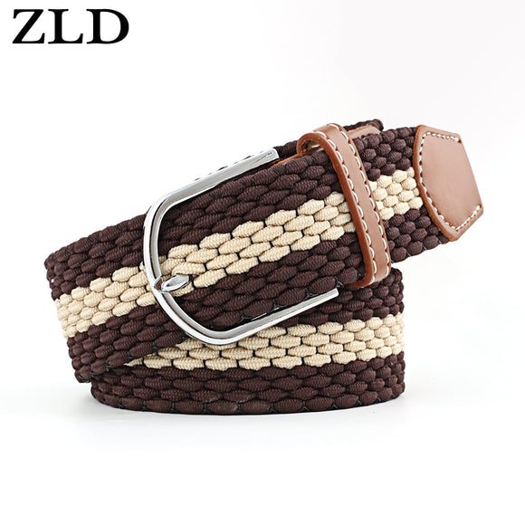 ZLD Newest Luxury Gentleman BeltWithout Holes Men's Elastic Reversible Belt With Mixed Color Stretch Woven Canvas women's Belt  MartLion