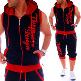 ZOGAA Men Sweatsuits Casual Mens Jogger Set 2 Piece Sleeveless Hoodies with Shorts Set Letter Printed Tracksuit for Men Clothing  MartLion