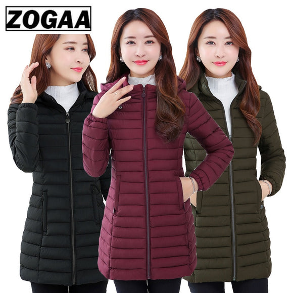 ZOGAA winter jacket women parka Large size Thicken warm Hooded long Slim Down cotton coat jacket women Outwear Parkas 5XL 6XL  MartLion