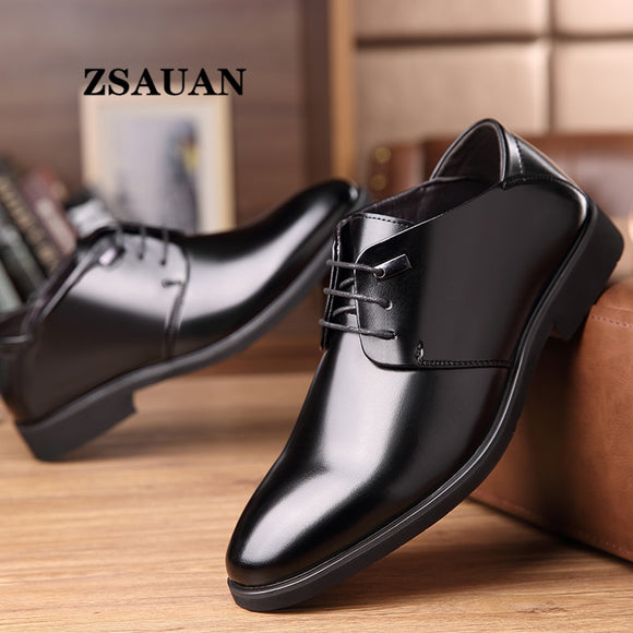 ZSAUAN 2020 Spring Men's Dress Shoes Leather Classic Derby Formal Shoes Office Business Wedding Pointed Suit Shoes Dropshipping  MartLion.com