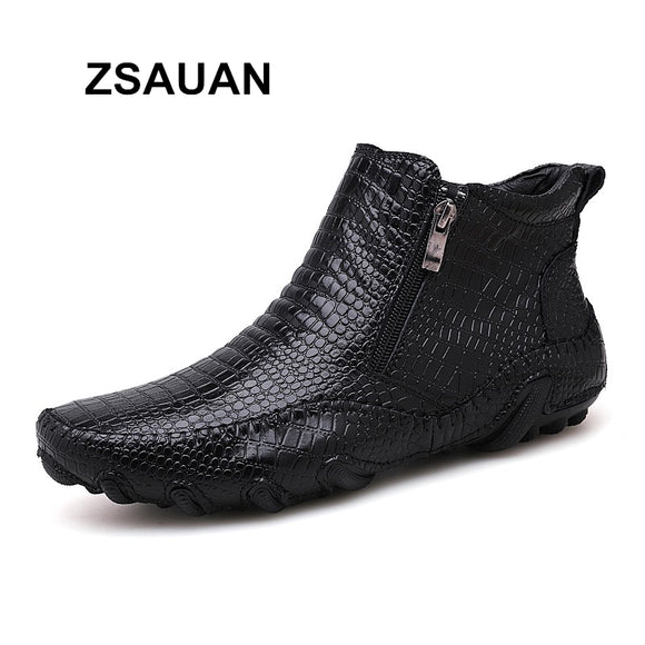 ZSAUAN Brand Drop Shipping Mens Boots Crocodile Pattern Casual Men Leather Ankle Boots Soft Waterproof Winter Warm Zip Boots  MartLion