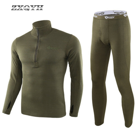 ZXQYH Winter Thermal Underwear Men Sets Military Tactical Uniform Outdoor Sport Clothing Hiking Warm T-Shirts+Pants Uniform Sets - Mart Lion  Best shopping website