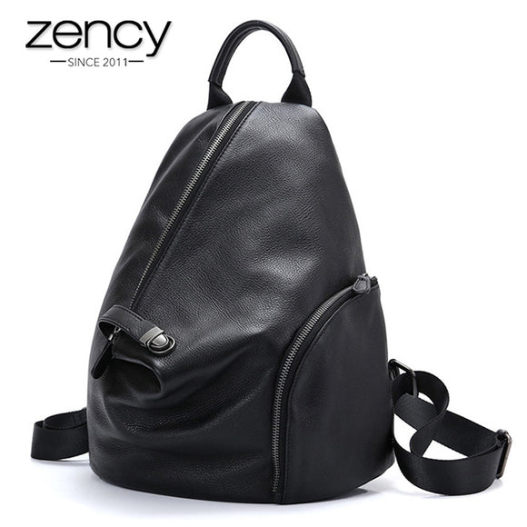 Zency 100% Genuine Leather Daily Casual Backpack For Women Classic Black Student's Schoolbag Vintage Lady Knapsack High Quality  MartLion