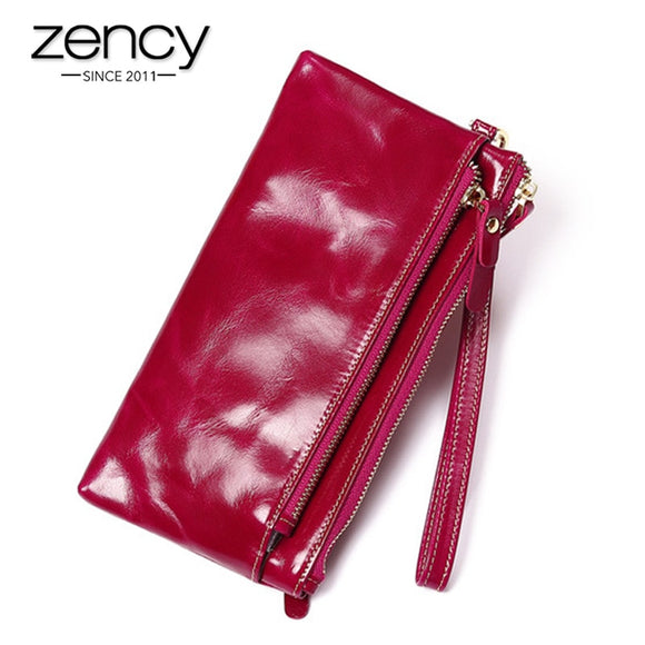 Zency 100% Genuine Leather Women Long Purse Large Capacity Note Compartment Photo Card Holders Standard Wallet Coin Pocket
