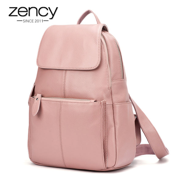 Zency 14 Colors 100% Genuine Leather Women Backpack Fashion Ladies Travel Bag Preppy Style Schoolbags For Girls Laptop Knapsack  MartLion