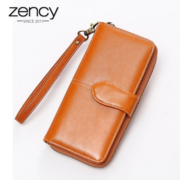 Zency Fashion Women Day Clutches High Quality Handbag Casual Long Purse 100% Genuine Leather Bag Brown Blue Classic Style  MartLion