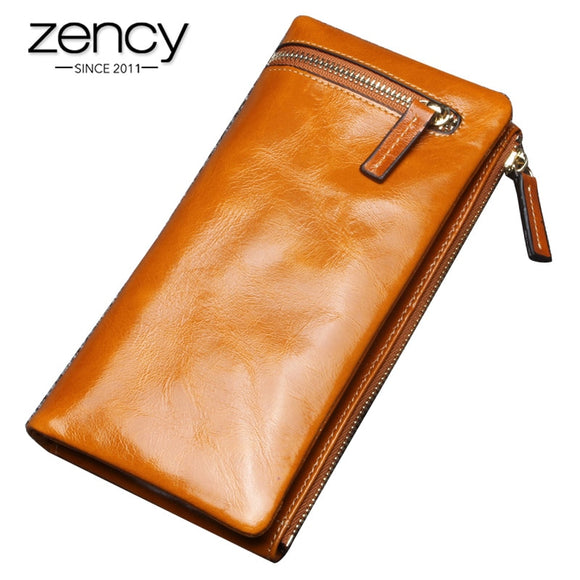 Zency Fashion Women's Wallets Made Of Genuine Leather Large Capacity Coin Purse Card Holders High Quality Long Wallet Black Blue