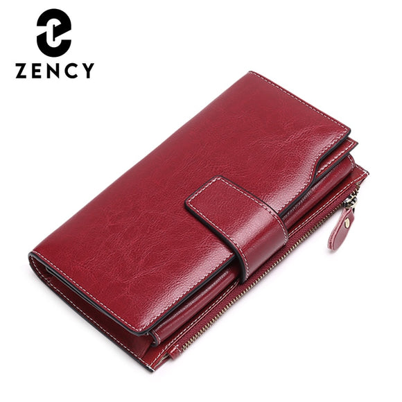 Zency Genuine Leather Ladies Wallets Luxury Card Holder Clutch Casual Women Wallets Long Large Capacity Purse Top Quality