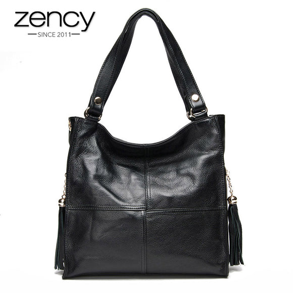 Zency Tassel Women's Handbag 100% Genuine Leather Shoulder Bag Female Fashion Crossbody Messenger Purse White Hobos Satchel - Mart Lion  Best shopping website