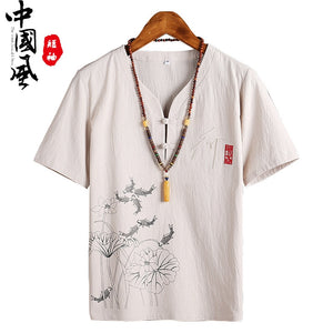 Zogaa Men's Short-sleeved T-Shirt Summer Korean Trend Chinese Style Cotton and Linen T-Shirt V-neck Linen Half-sleeved Clothes  MartLion