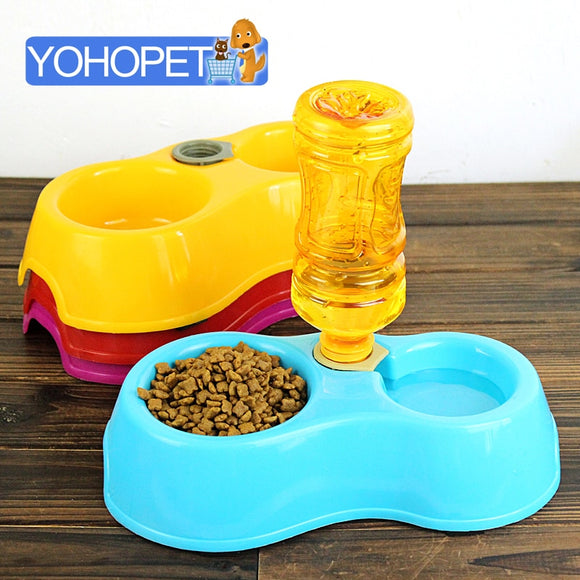 feeder for cats automatic pet feeder double bowl Dog Feeding & Watering Supplies eco-friendly slip-resistant cat water dispenser  MartLion.com