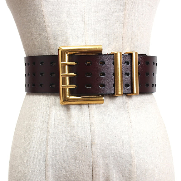 luxury fashion Genuine leather hollow black decorative waist seal 5.5cm wide belt ladies with coat skirt belt  belts for women