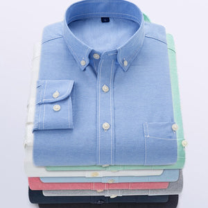 men shirt plus size solid color shirt men spring casual shirts oxford Tuxedo shirt Long Sleeve solid color Slim Fit Striped - Mart Lion  Best shopping website