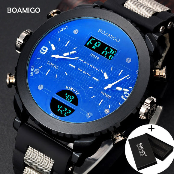 men watches BOAMIGO brand 3 time zone military sports watches male LED digital quartz wristwatches gift box relogio masculino  MartLion