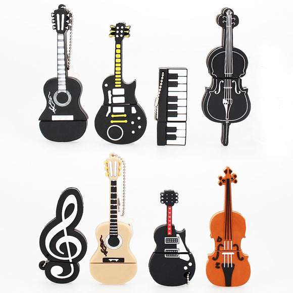 music Pendrive 128gb Pen Drive 64gb creative Cartoon Guitar Violin usb Flash drive Gift USB 2.0 usb memory stick Free Shipping  MartLion