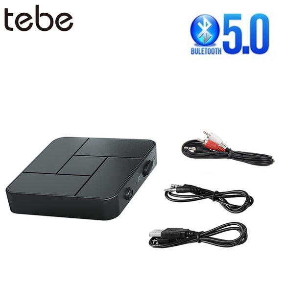 tebe Bluetooth 5.0 Receiver Transmitter Adapter 2 IN 1 3.5mm Jack AUX with RCA Cable Music Wireless Audio Adapter For Car TV