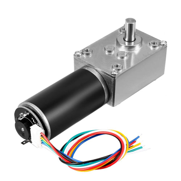uxcell Hot Sale 1Pcs DC 24V 111RPM 16Kg.cm Self-Locking Worm Gear Motor With Encoder And Cable High Torque Speed Reduction Motor  MartLion