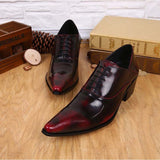 vintage wine red men dress shoes genuine leather lace-up business wedding male shoes retro man fashion pointed toe high heels  MartLion