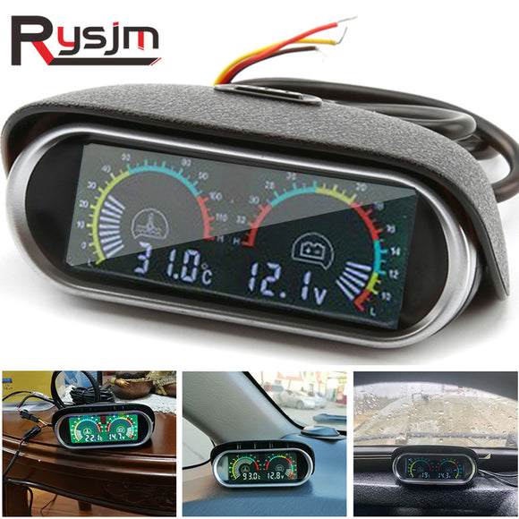 voltmeter car motorcycle auto for mitsubishi Horizontal water temperature gauge motor temp sensor Volt Meter 2 in 1 12v LCD  MartLion