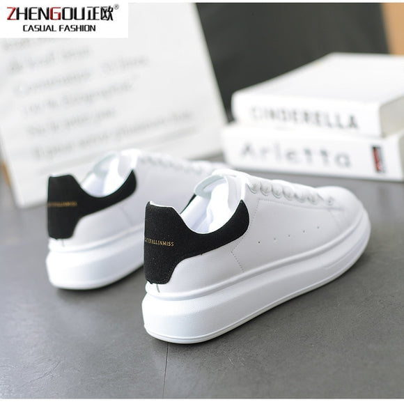 zhengou Panya Men And Women Lovers Tidal With Thick Soles Basics Leisure Time Sneakers GirlsMcqueen shoes woman white  MartLion