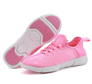 Pink Light Up Shoes for Men| Lightweight shuffle shoes | light up shoes for adults | fiiber optic bright red light cover the whole shoe and light up the picture in a dark room