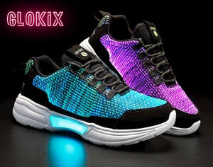 SNEAKER NEWS Flashing Light Up Shoes Glowing blue and purple with GloKix logo