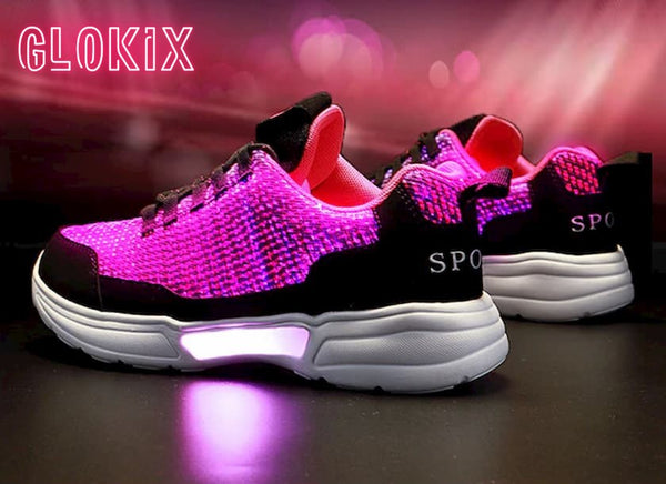 SNEAKER NEWS Flashing Light Up Shoes Glowing pink with GloKix logo