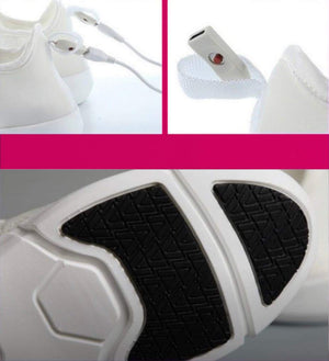 GloKix light up shoes for adults and kids displaying the charging ports and bottom of the shoe