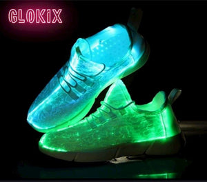 GloKix logo showing white light up shoes glowing blue and green with a small reflection