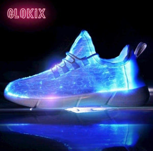 GloKix logo showing white light up shoes glowing blue with a small reflection