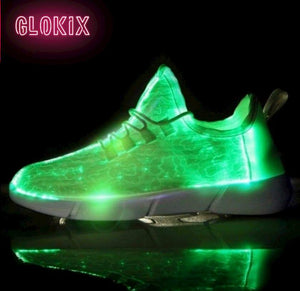 GloKix logo showing white light up shoes glowing green with a small reflection