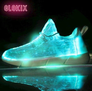 GloKix logo showing white light up shoes glowing teal with a small reflection