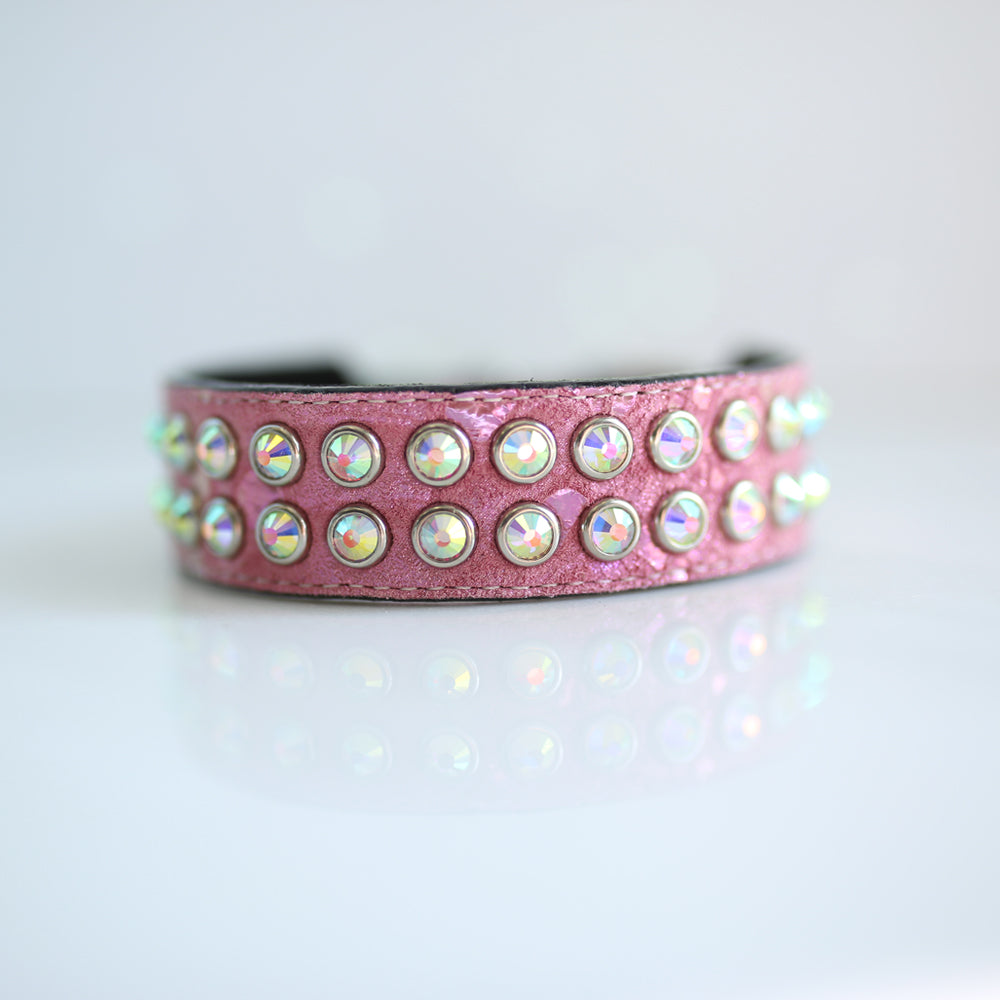 Mucho Crystal Dog Collar: Pink Pearl