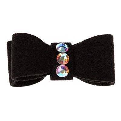 Pet Boutique - Black Chic Dog Accessories - 3 Stone Pet Bow - Susan Lanci Bows