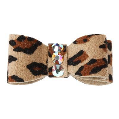 Dog Bows - Cheetah 3-Stone Dog Hair Bow by Susan Lanci