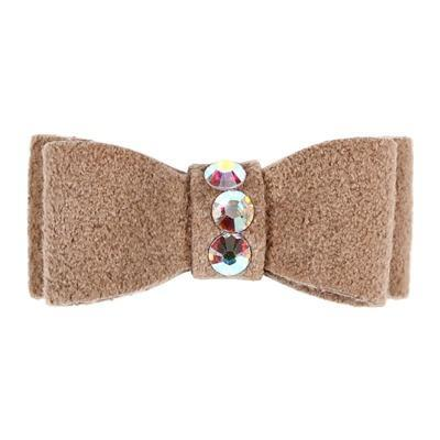Dog Bows - Fawn 3-Stone Dog Hair Bow by Susan Lanci