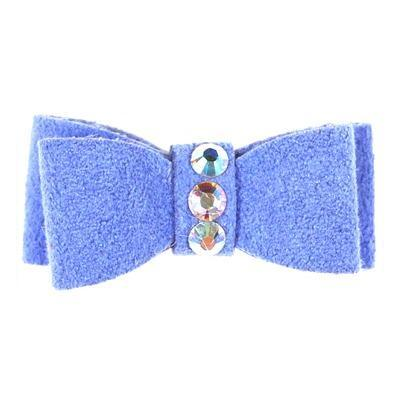 Dog Bows - Periwinkle 3-Stone Dog Hair Bow by Susan Lanci