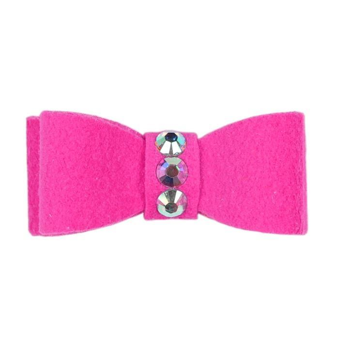 Dog Bows - Pink Sapphire 3-Stone Dog Hair Bow by Susan Lanci